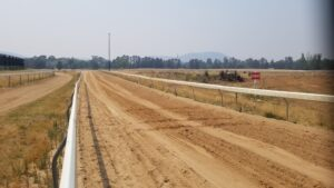 Racehorse track treated with Dust Stop® to eliminate unwanted dust.