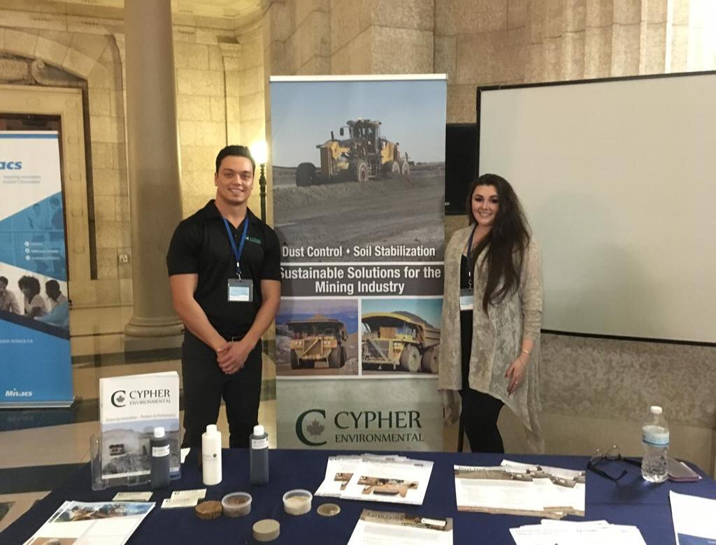 Riley Cram and Teaghan Wellman attend research event at the Manitoba Legislature.